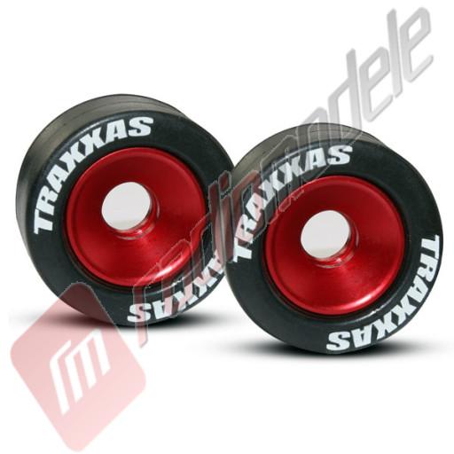 Roti pentru wheelie bar, aluminiu rosu / cauciuc, pentru automodele TRAXXAS