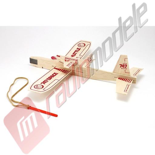 "Kit de asamblare planor balsa ""747 shuttle"" - balsa, 305mm, catapulta inclusa"