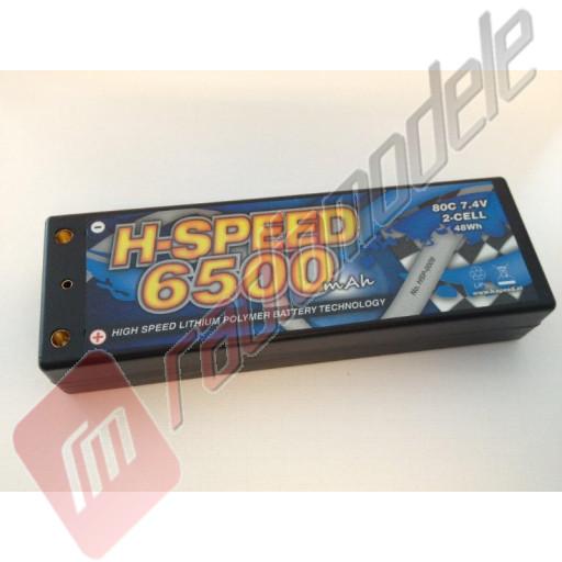 Acumulator H-Speed LiPo Hardcase 2S / 6500mAh, 7.4V 80C