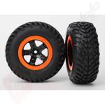 Roti complete, jante SCT black orange cu anvelope SCT off-road racing automodele TRAXXAS Slash