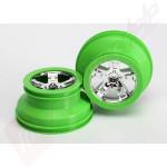 Jante SCT crom satinat cu margine verde (profil dublu 2.2/3.0) automodele TRAXXAS Slash