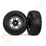 Roti complete, jante SCT split-spoke black cu anvelope SCT off-road racing automodele TRAXXAS Slash