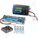 Pachet starter - kit incarcator 2A + 500mAh, acumulator 3000mAh si acumulatori telecomanda