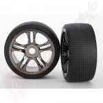 Anvelope Traxxas on-road pe jante crom fumuriu cu 5 spite duble si hex 17mm