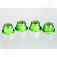Piulite din otel cu siguranta de nailon (verde-anodizat) (4mm)  (4buc), pentru  automodele TRAXXAS