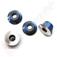 Piulite din otel cu siguranta de nailon (albastru-anodizat) (4mm)  (4buc), pentru  automodele TRAXXAS